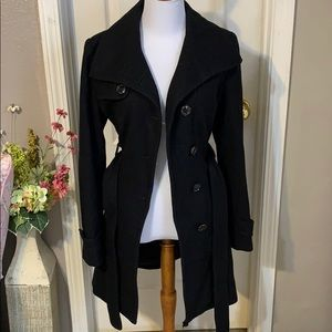 Black Kenneth Cole reaction pea coat size 4